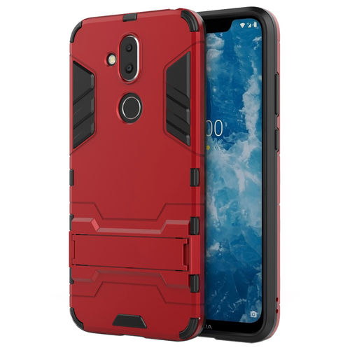 Slim Armour Tough Shockproof Case & Stand for Nokia 8.1 - Red